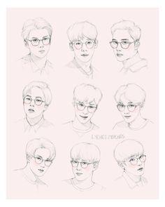 ♡♡♡(ㅠ‿ㅠ)/♡♡♡ 4 Years w/ EXO ft. exo w/ glasses Kpop Drawings, Art Drawings, Exo Fan Art, Korean Art, Sketch Inspiration, K Idol, Realistic Drawings, Kpop Fanart, Boy Art
