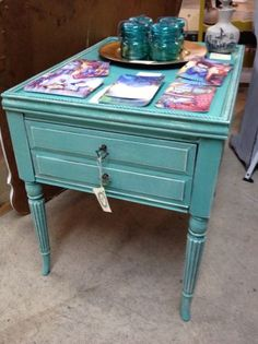 Portland: Aqua Blue Table / Nightstand with Glass Finish $125 - http://furnishlyst.com/listings/34838