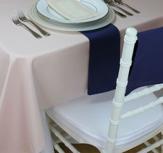 Order a navy blue fabric swatch of our navy blue napkins, navy blue table runners, navy blue placemats, and navy blue chair covers for chiavari chairs. Real navy blue table linens at wholesale prices.