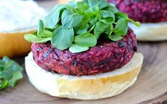 <p>These burgers are made from smoky barbecue sauce-covered shredded beets, meaty black beans, and rice.</p>
