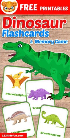 Free Printable Dinosaur Flashcards and Memory Game for Kids   123 Kids Fun Apps