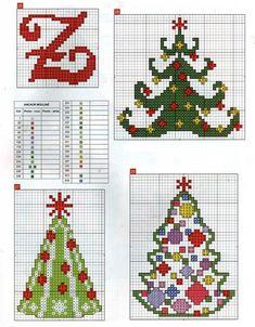 Three More Christmas Tree Charts Xmas Cross Stitch, Cross Stitch Christmas Ornaments, Cross Stitch Needles, Cross Stitch Alphabet, Christmas Embroidery, Noel Christmas, Cross Stitch Charts, Cross Stitch Designs, Cross Stitching