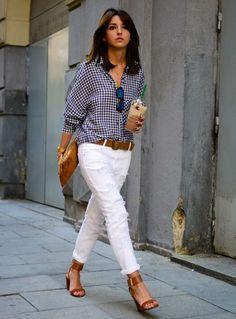 look camisa xadrez calça branca street style