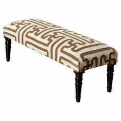 "The perfect accent to your entryway or master suite, this chic wood bench showcases a hand-woven wool seat and nailhead trim. Product: BenchConstruction Material: Wool and woodColor: CreamFeatures: Hand-wovenBrass nailhead trimGreek key motif Made in India Dimensions: 18"" H x 46"" W x 16"" D"