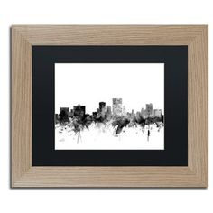 "Trademark Art ""El Paso Texas Skyline B&W"" by Michael Tompsett Framed Graphic Art Size: 1"