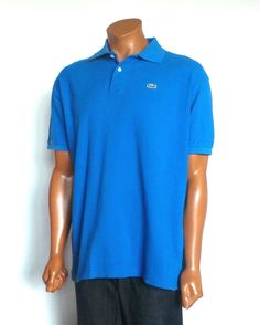 Men's LACOSTE Size 7 Short Sleeve Royal Blue Polo Rugby Shirt XLarge