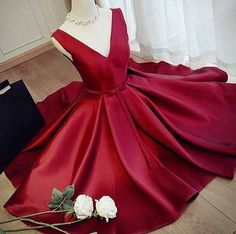 Charming V Neck Dark Red Prom Dress,A Line