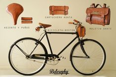 Belosophy: ride with style. Belosophy Boston. Bicicleta. Bicycle. Accesorios. Boslos. Alforjas. Asiento y puños de cuero. leather accessories. www.belosophybikes.com