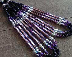 Native American beaded earrings - black and purple - beadwork earrings - seed beaded earrings
