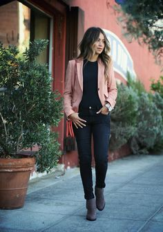 black denim + T / grey booties / pink blazer