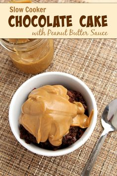 Slow Cooker Chocolate Cake with Peanut Butter Sauce ~ add this amazing recipe to your desserts collection because a slow cooker dessert is one of the easiest ways to make one in the kitchen!  | 5DollarDinners.com