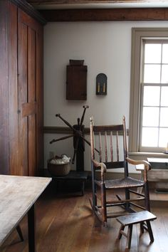 antique rocker in the diningroom