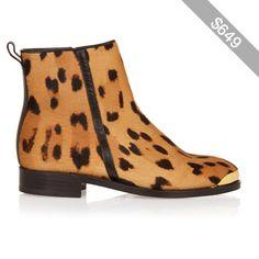 Balmain Toomai leopard-print calf hair boots