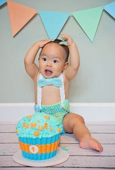 First Birthday Cake Smash Photo Shoot Photography Prop Baby Boy Toddler Crochet Outfit Diaper Cover with Suspenders and Bow Tie or Neck Tie on Etsy, $39.02