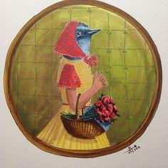 """The Gardener's Daughter  8"""" x 8"""" acrylic ink on paper   #birdportraits"""