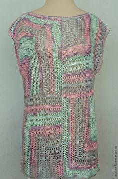 """Купить Туника """"Графика"""" - абстрактный, Вязание крючком, вязание на заказ, туника вязаная, туника крючком"""