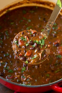 Black Bean Soup | Cooking Classy - Because we like a little zing, we replaced the tomatoes with Fire Roasted Rotel tomatoes.  I also used a red onion instead of a yellow onion.  It was delicious.  New favorite soup is now this recipe.