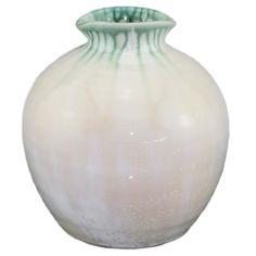 花器 手拉陶瓷花器 绿&白色 陶瓷 W180*D180*H190mm