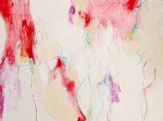 """Red and White abstract expressionist work on paper, """"Strawberry Pie"""" by Kerri Blackman Mixed media-acrylic paint, pastel and colored pencil, 24x18 https://www.etsy.com/listing/189934039/red-small-abstract-expressionist?ref=shop_home_active_10 Intuitive art, gestural abstract"""