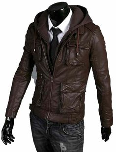 Four front cargo pockets Fabric hooded jacket  Front zip closure  Shell real cowhide leather Interior fully lining color. brown, black, red, white, blue