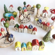 Miniature ceramic houses – little houses – Ceramic Clay Houses, Ceramic Houses, Miniature Houses, Antony Gormley, Clay Projects, Clay Crafts, Felt Crafts, Ceramic Art, Ceramic Pottery