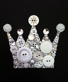 Crown Art Button Crown & Swarovski Crystal Crown by BellePapiers, $54.00