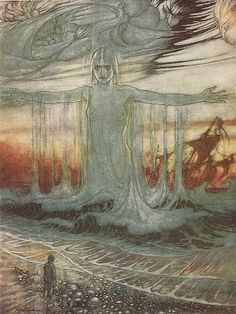 Arthur Rackham - Aesop's Fables - The Shipwrecked Man and the Sea    The most beautiful image in the book - I used to wonder if she was made out of cold or warm wate