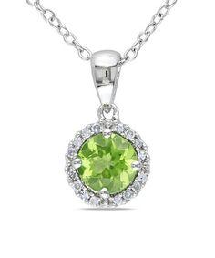 Love this Peridot & Diamond Round Halo Pendant Necklace on #zulily! #zulilyfinds