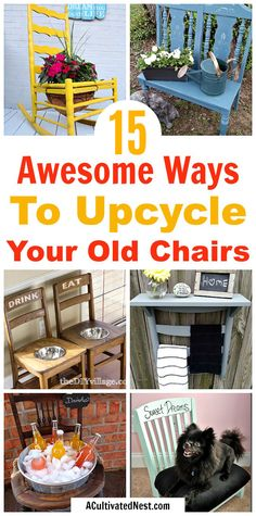 Don't throw out your old chairs! It's easy to find a great DIY projects to upcycle any old chairs you might have. For some great ideas, check out these clever DIYs that repurpose old chairs! Chairs For Rent, Old Chairs, White Chairs, Ikea Chairs, Eames Chairs, Diy Garden Furniture, Repurposed Furniture, Hanging Chair From Ceiling, Industrial Dining Chairs