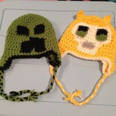 Minecraft hats (handmade) $25 for creeper and $30 for the cat one Accessories