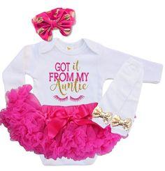 """Cute Baby Onesie - """"Got It From My Auntie"""" Hot Pink"""