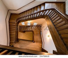 SALT LAKE CITY, UTAH - AUGUST 16: Winding, old, wooden staircase in the bell tower of the Cathedral of the Madeleine (1909) Roman Catholic Church on August 16, 2013 in Salt Lake City, Utah