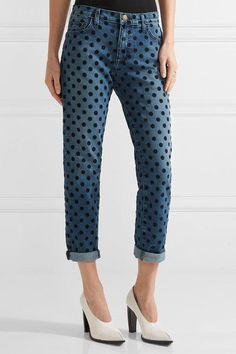 CURRENT/ELLIOTT The Fling flocked mid-rise straight-leg jeans