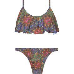 Salinas Mosaic Print Bikini With Flounce Top - Dalia Babado (€145) ❤ liked on Polyvore featuring swimwear, bikinis, hot pink, frilly bikini, colorful bikini, multi color bikini, spandex swimwear and padded swimwear