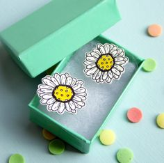 Daisy Illustrated Plastic Stud Earrings by TheRaspberryFinch, £7.00