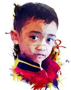 My nephew cool look.  #mydrawing #digitalpainting #digitalart #vectorart #lowpoly #polygonal #children #portrait