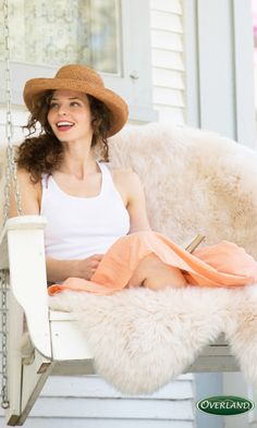 Bring the indoors outside with a sheepskin rug