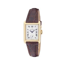 Dreyfuss & Co Ladies Watch  * Swiss Hand Made * Swiss Quartz Movement * 18ct Yellow Rectangular Gold Case * Seafarer Stamp * Brown Leather Strap * Silver/White Dial * Roman Numerals * Secondary Dial for Seconds Hand * Reference DLS10002 21 * In Stock And Ready For Delivery