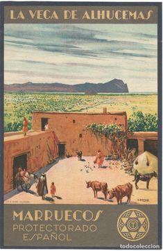 Carteles de Turismo: CARTEL PEQUEÑO FORMATO - MARRUECOS - PROTECTORADO ESPAÑOL - LA VEGA DE ALHUCEMAS - MARIANO BERTUCHI - Foto 1 - 61679900