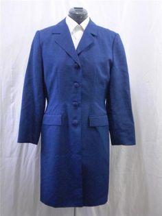 Adrianna Papell Coat Navy Blue Silk Linen Lightweight Long Button Front 10