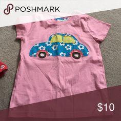 Short sleeve pink mini boden car tee size 5-6 100% cotton short sleeve pink tee with car appliqué Mini Boden Tops Tees - Short Sleeve
