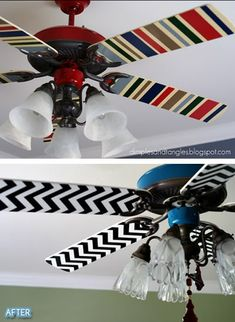 Who would have thought to decorate the ceiling fan? Mod Podge fabric onto fan blades. #DIY -- Kid's room?