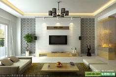 40 Contemporary Living Room Interior Designs with Modern TV Wall Units | Modern Living Room TV Wall Units (Design 32) in White and Light Wood Texture – Blossomstudio's Interior Design and Furniture Blog