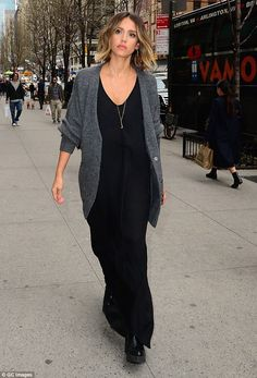 Stepping out: Jessica Alba opted for an unstated ensemble as she stepped out in New York C...
