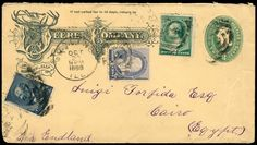 United States 1887-94, lot from seven documents to Egypt, everything postal stationeries with additional frankings, amongst other things Michel no. 69 (2) as additional franking on 10 c. Columbus-GSU, once registered amongst other things, tls. Legitimate defects    Dealer  Schwanke GmbH    Auction  Minimum Bid:  100.00EUR