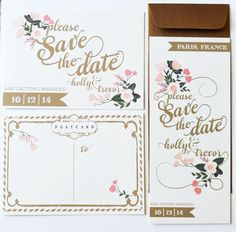 blush and pink wedding invites by The First Snow.