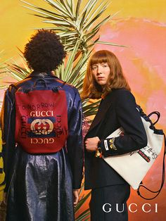 Part of the Gucci Fall Winter 2017 collection by Alessandro Michele, handwritten aphorisms by Coco Capitán appear on men's drawstring backpacks and bring together the artist's offbeat sense of humor with the eclectic House aesthetic.