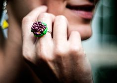 ring with lilac flowers