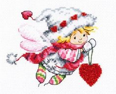 "A BRAND NEW COUNTED CROSS STITCH KIT ""ANGEL WITH HEART"" WONDERFULL NEEDLE #WONDERFULNEEDLE"