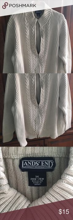 Beige cable knit cardigan in EUC - very warm Comes from pet friendly smoke free home. I am just cleaning my closet & trying to get some cash for kids college fund. I have lots of items still NWT & NWOT along with some in EUC so please take look at my listings. Bundles & offers welcome! Happy poshing! Lands' End Sweaters Cardigans
